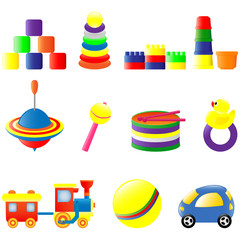 Set of different colored toys