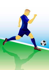 Soccer player  dribbling with ball. Vector illustration.