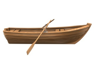Wood boat isolated on white