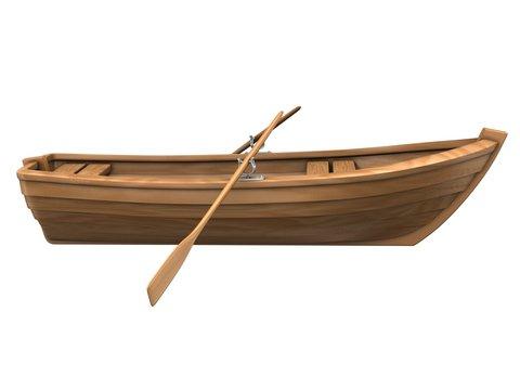 Wood boat isolated on white