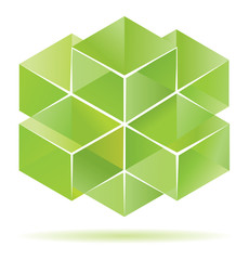 Green cube design for business artwork