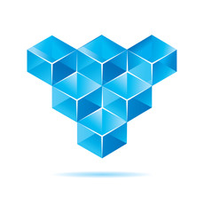 Blue cube design for business artwork
