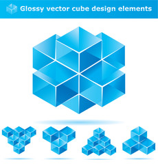 Set of blue cube design elements for business artwork