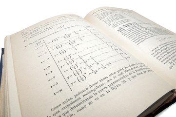 algebraic old math book isolated with clipping path