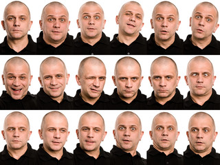 Set of useful faces isolated on white