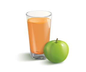 vector illustration of the apple and juice