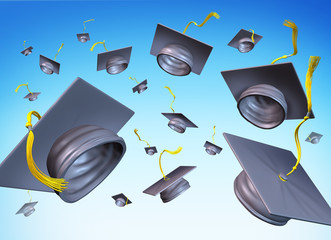 graduation hats in the air graduating day throw hat in the sky
