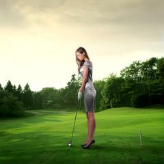 Beauty playing golf