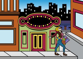 Shopping Downtown Girl