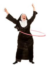 Funny Nun in Socks with Toy Hoop