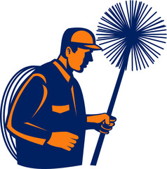 Chimney sweeper holding sweep