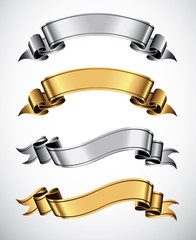 Set of gold and silver vector ribbons for your text
