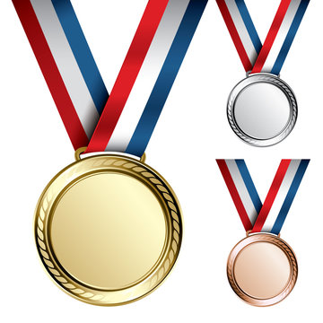 Three detailed vector medals - gold, silver and bronze