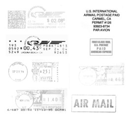 USA, black postmarks background