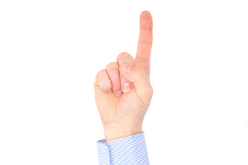 One businessman index finger pointed up isolated on white
