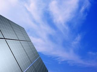Solar panel against blue sky. Concept - echo energy.