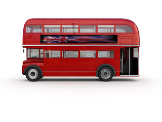 Printed roller blinds London red bus Double decker bus - isolated on white