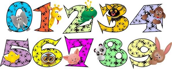 Numeri Animali-Animal Numbers-Numéros Animaux-Vector