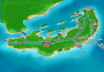 Photo sur Aluminium Route Island map