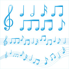 glossy music notes