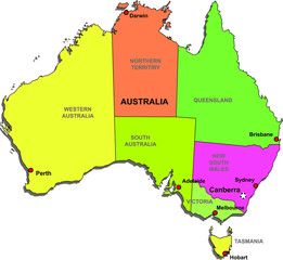 Color map of Australia with regions on a white background