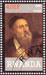 Stamp printed in Rwanda shows Tiziano Vecelli
