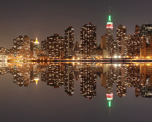New York City Skyline at Night light, Midtown Manhattan