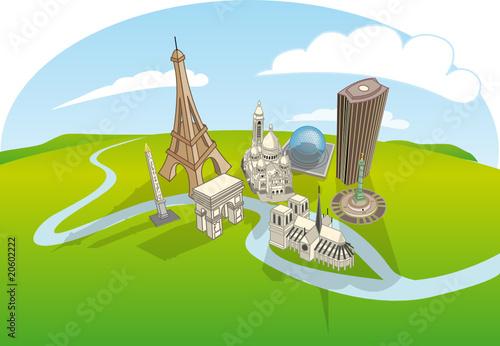 Plan touristique paris fichier vectoriel libre de droits for Paris carte touristique