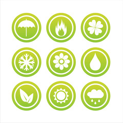 set of 9 green nature signs