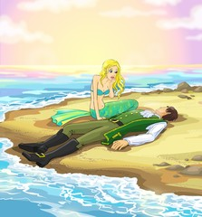 Mermaid and prince on the seashore after storm.