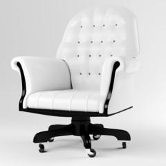 3d white leather armchair, studio render
