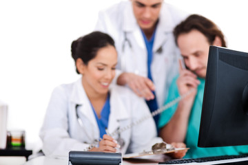 Doctor team making discussion over phone