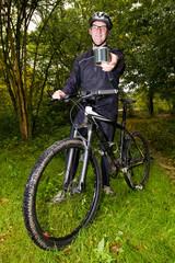 Mountain biker showing a tin can