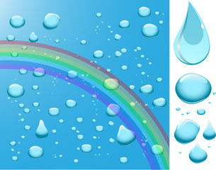 Water drops with rainbow.