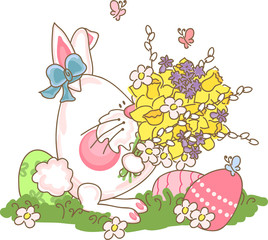 easter bunny with bouquet of spring flowers
