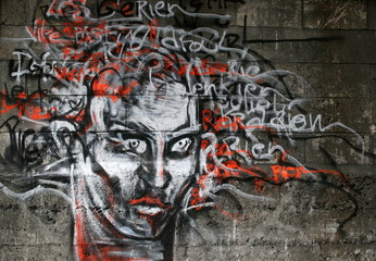 visage, graffiti, tag