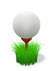 golf ball on red tee - with grass