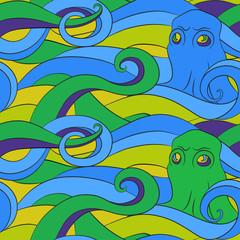 Octopus - seamless vector pattern