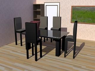 Sala con mesa y sillas