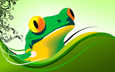 Illustration of a frog looking from bushes