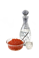 Red caviar and Russian vodka