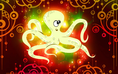Illustration of an octopus crawling beyond white surface