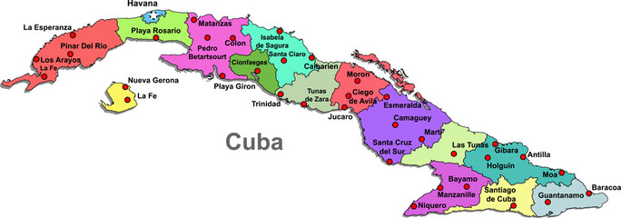 Color map of Cuba with regions on a white background