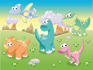 Dinosaurs Family with background, vector illustration.