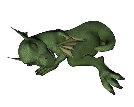 Cute Toon-Style Baby Dragon - sleeping