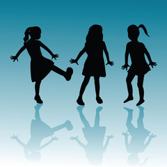 Silhouettes of children on blue background