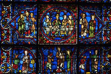 Foto op Plexiglas Stained France, vitraux de la cathédrale de Chartres