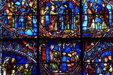 Fotobehang Stained France, vitraux de la cathédrale de Chartres