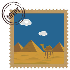Old vintage postal stamp with Egyptian pyramids, famous landmark