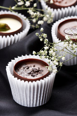 chocolate candies with flowers